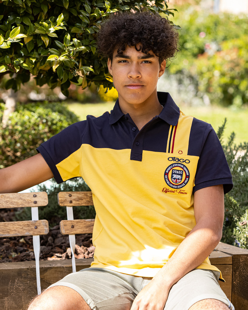 Polo Otabadge Otago rugby manches courtes mimosa marine Homme