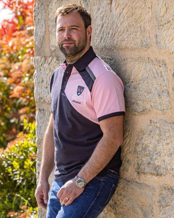Polo Flash Otago rugby manches courtes marine rose homme