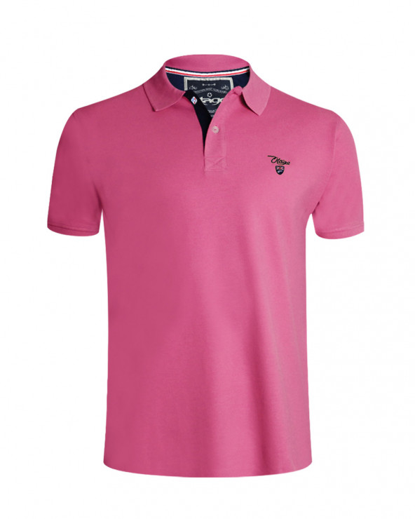 Polo Abruzzo manches courtes Otago rugby rose chiné homme
