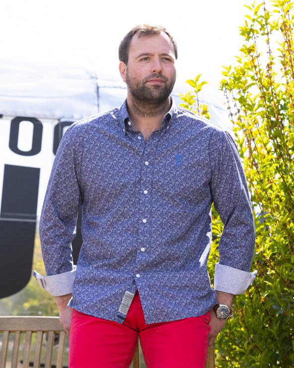 Chemise 102 manches longues Otago à motifs bleu marine Homme