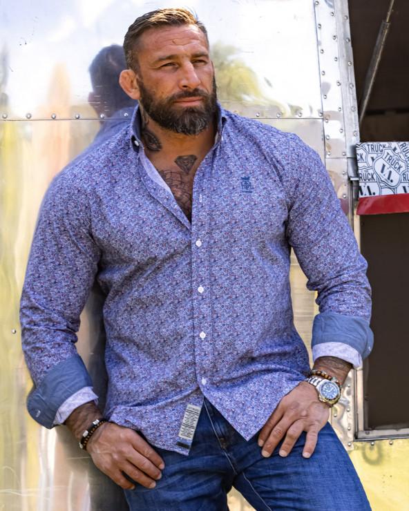 Chemise 101 manches longues bleu ciel à motifs Homme