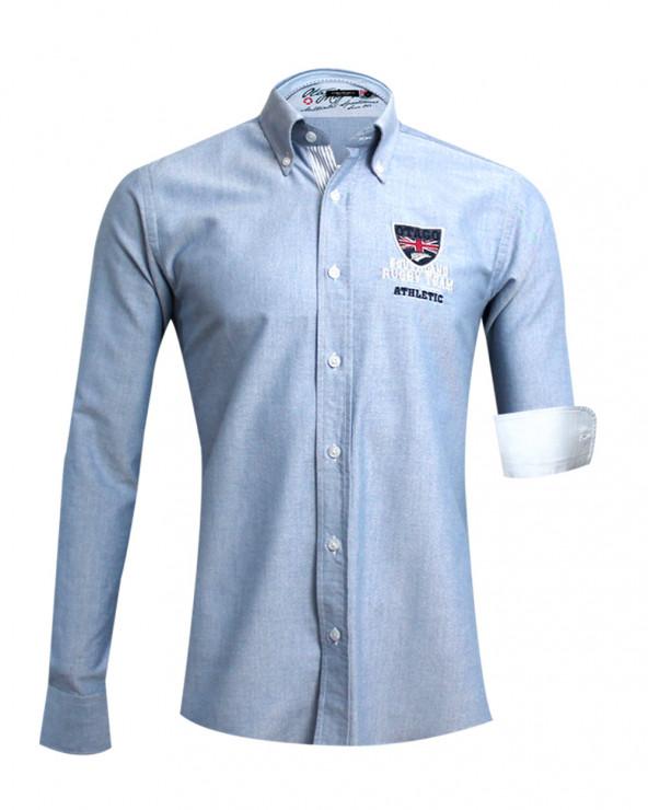 Chemise manches longues Artax Otago rugby bleu marine oxford homme