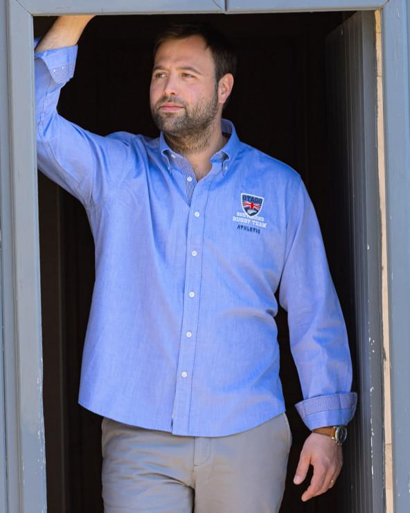 Chemise manches longues Artax Otago rugby bleu ciel homme