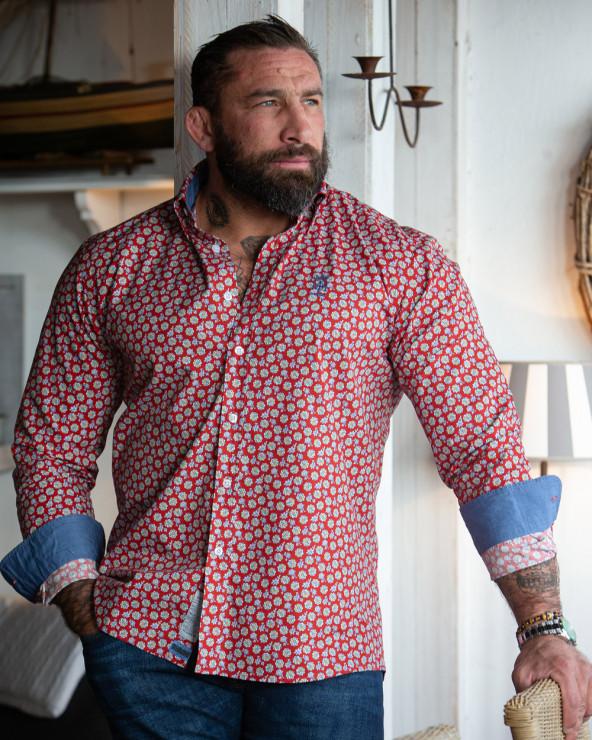 Chemise 211 manches longues Otago rugby rouges à motifs homme