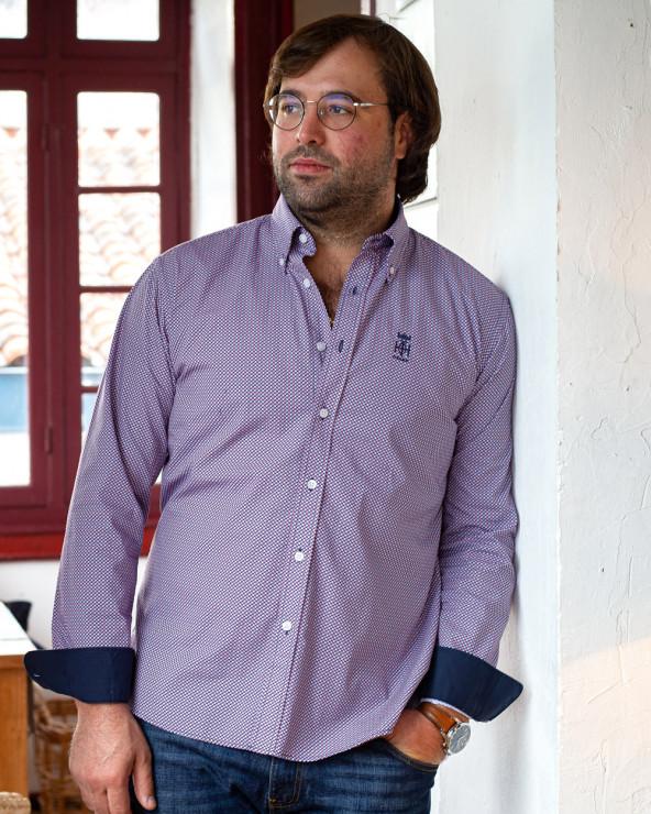 Chemise 213 manches longues Otago rugby marine à motifs homme