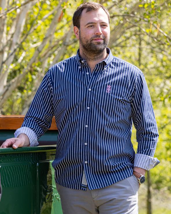 Chemise manches longues homme Buzy Otago rayée bleu marine/blanc