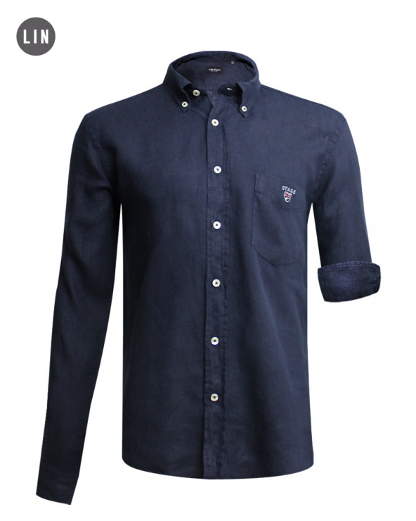chemise LIN BUENOS AIRES manches longues Otago marine homme