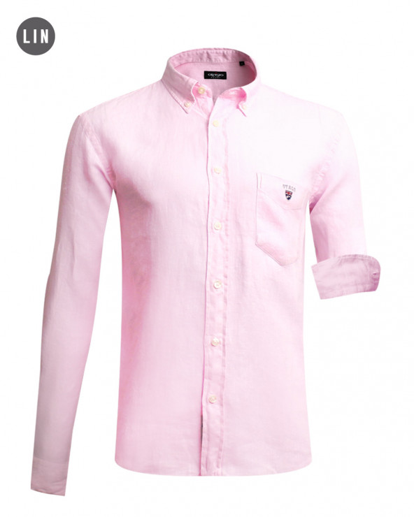 chemise LIN BUENOS AIRES manches longues Otago rose homme