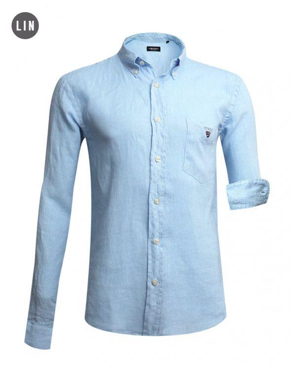 chemise LIN BUENOS AIRES manches longues Otago bleu ciel homme