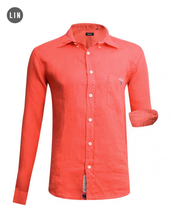 chemise LIN BUENOS AIRES manches longues Otago orange homme