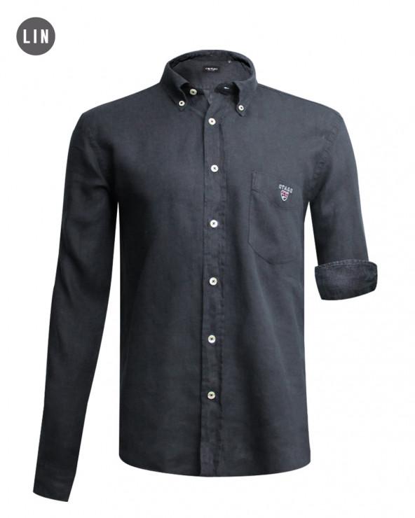 chemise LIN BUENOS AIRES manches longues Otago gris foncé homme