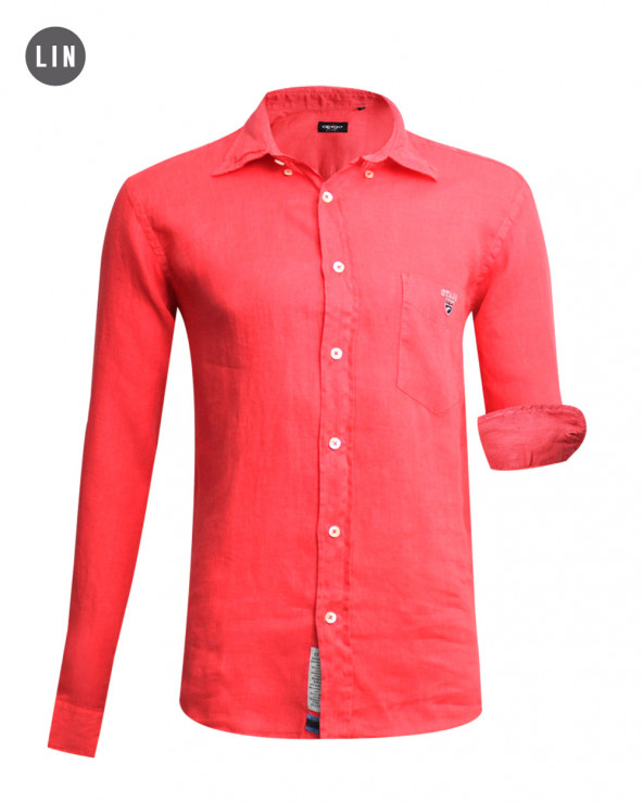 chemise LIN BUENOS AIRES manches longues Otago framboise homme