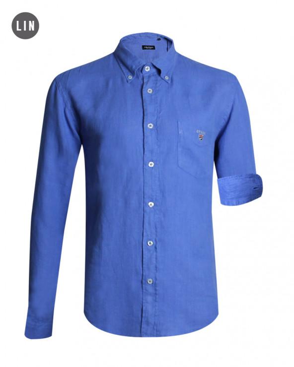 chemise LIN BUENOS AIRES manches longues Otago bleu cobalt homme