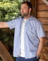 Chemise 112 manches courtes Otago rugby à motifs bleu ciel Homme