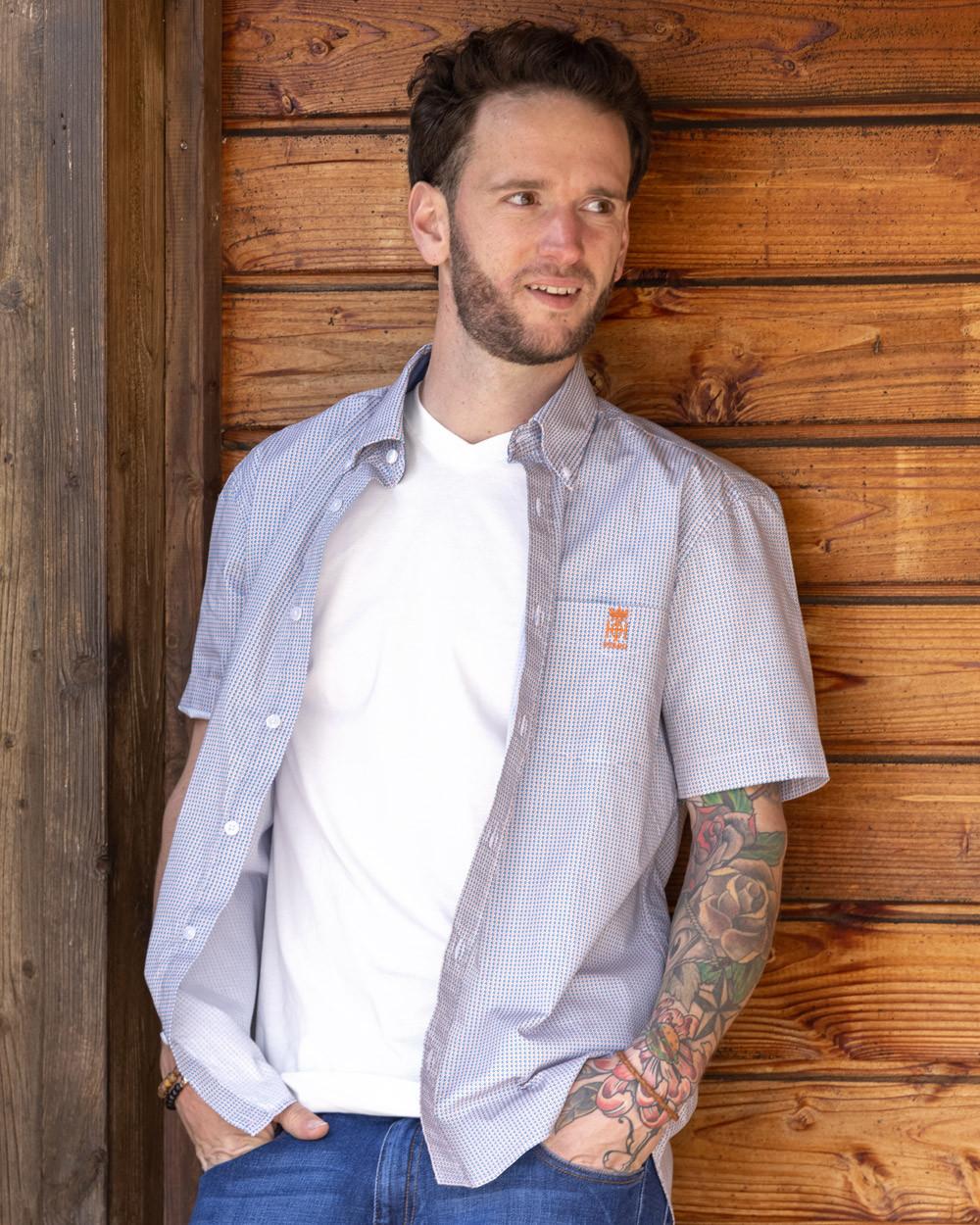 Chemise 114 manches courtes Otago bleue à motifs Homme