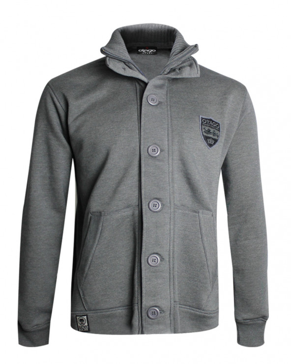 veste sweat zip boutonnée COMBE Otago rugby homme grise