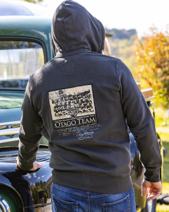 Sweat zip à capuche Vintage Otago gris anthracite homme