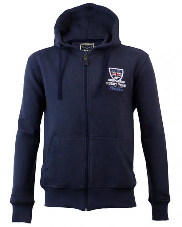 Sweat zip capuche Artax Otago rugby bleu marine homme