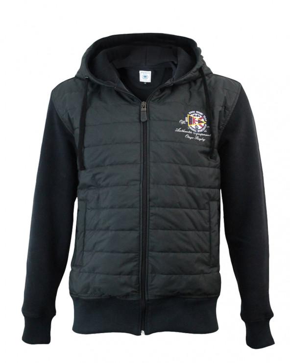 Veste zippée à capuche bi-matière Tinmar Otago rugby noir homme